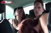 2 girls and 1 dude in the car