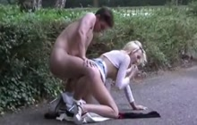 Horny lovers doing it in public