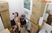 Horny chick riding a dick in a bathroom