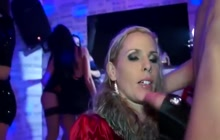 Girls blowing cocks at the party
