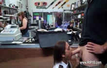 Crazy chick sucking my cock behind the counter