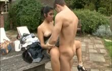 European lovers fucking outdoors