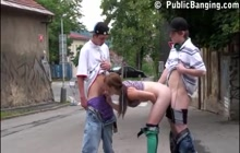 Threesome with a teen on a street